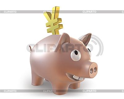 3d Sparschwein mit Yen-Symbol | Illustration mit hoher Auflösung |ID 3048174