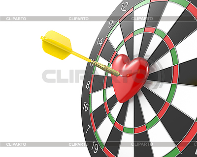 Dart uderza w środek datrboad | Stockowa ilustracja wysokiej rozdzielczości |ID 3174704