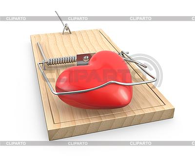 Herz gefangen in Mausefalle | Illustration mit hoher Auflösung |ID 3174738
