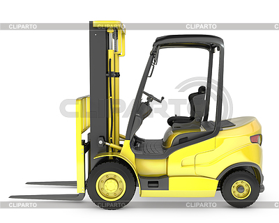 Yellow fork lift truck side view | High resolution stock illustration |ID 3301219