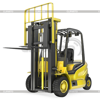 Yellow fork lift truck with raised fork, front view | High resolution stock illustration |ID 3301221