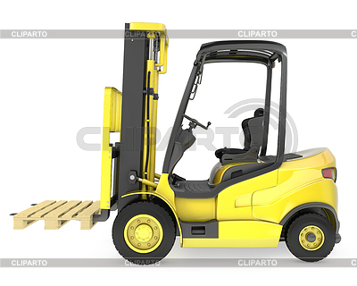 Yellow fork lift truck, with pallet | High resolution stock illustration |ID 3301226