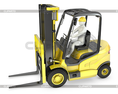 White man in fork lift truck | High resolution stock illustration |ID 3301227
