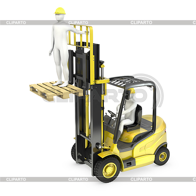 White man in fork lift truck, lifting other   High resolution stock illustration  ID 3301230