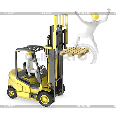 White man falling of lift truck fork | High resolution stock illustration |ID 3301231