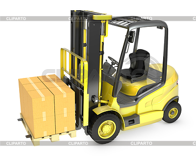 Yellow fork lift truck with strack of carton boxes | High resolution stock illustration |ID 3301232