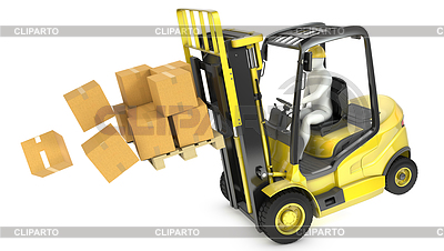 Overloaded yellow fork lift truck falling forward | High resolution stock illustration |ID 3301234