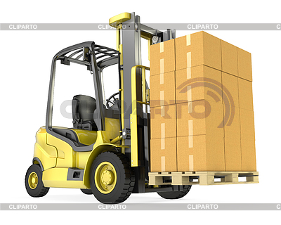 Yellow fork lift truck with big stack of carton boxes | High resolution stock illustration |ID 3301235