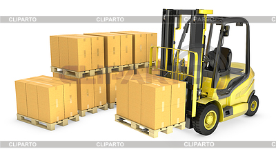 Yellow fork lift truck with strack of carton boxes | High resolution stock illustration |ID 3301236