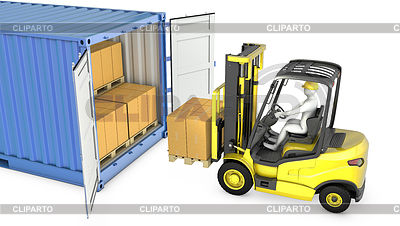 Yellow fork lift truck unloads cargo container | High resolution stock illustration |ID 3301237