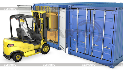 Yellow fork lift truck unloads cargo container | High resolution stock illustration |ID 3301238