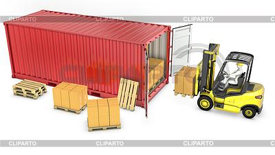 노란색 포크 리프트 트럭 빨간색 컨테이너를 언로드 | 높은 해상도 그림 |ID 3301239