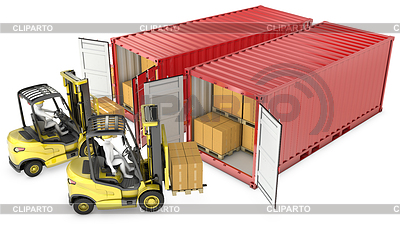 Two yellow lift truck unloading containers | High resolution stock illustration |ID 3301240