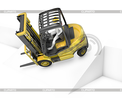 Yellow fork lift truck falling after turning on slope | High resolution stock illustration |ID 3301241