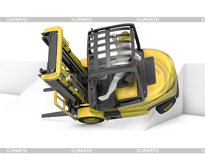 Yellow fork lift truck falling after turning on slope | High resolution stock illustration |ID 3301242