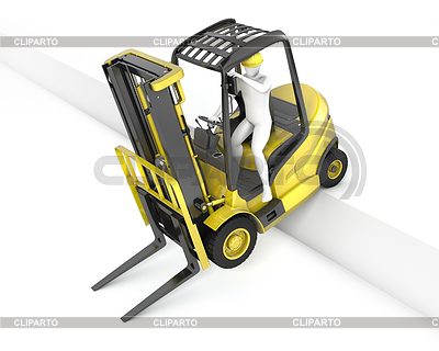 Yellow fork lift truck stuck after falling of ramp | High resolution stock illustration |ID 3301244