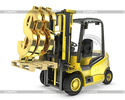 Fork lift truck lifts gold dollar sign | High resolution stock illustration |ID 3301246