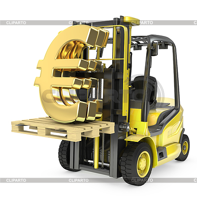 Fork lift truck lifts gold euro sign | High resolution stock illustration |ID 3301247