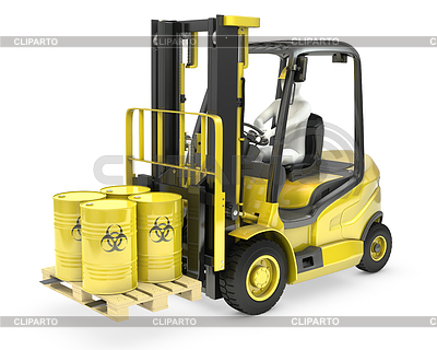 Fork lift truck with biohazard barrels   High resolution stock illustration  ID 3346072