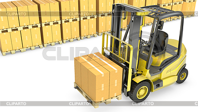 Yellow fork lift truck with stack of carton boxes | High resolution stock illustration |ID 3346130