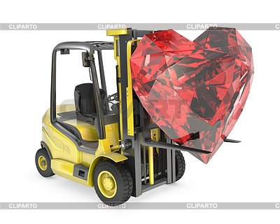 Fork lift truck lifts heart cut ruby | High resolution stock illustration |ID 3346131