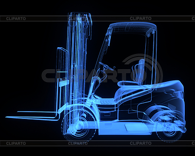 Yellow fork lift truck, side view | High resolution stock illustration |ID 3346134