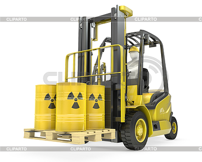 Fork lift truck with radioactive barrels | High resolution stock illustration |ID 3346136