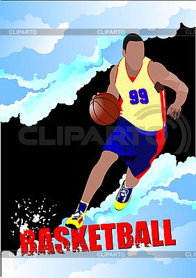 Plakat mit Basketball-Spieler | Stock Vektorgrafik |ID 3048265