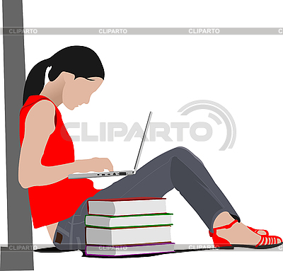 Sitting girl with laptop and book`s column | Stock Vector Graphics |ID 3048288