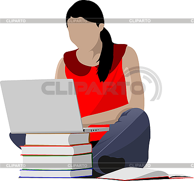 Sitting girl with laptop and book`s column | Stock Vector Graphics |ID 3048290