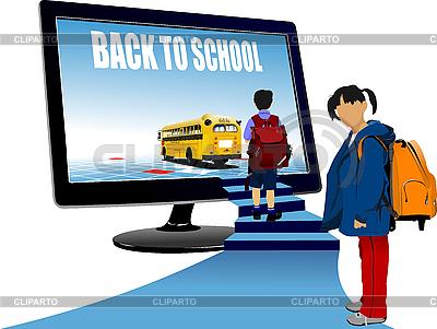 Schüler, Monitor und Schulbus | Stock Vektorgrafik |ID 3048304
