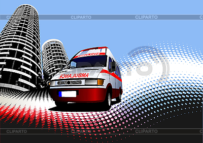 Urban background with ambulance car | Stock Vector Graphics |ID 3048318