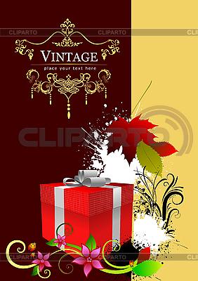 Pokrywa z czerwonym pudełku i jesiennych liści | Klipart wektorowy |ID 3048329
