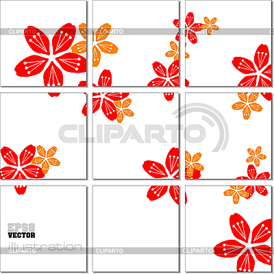 Geometryczny wzór mozaiki z kwiatów | Klipart wektorowy |ID 3048349