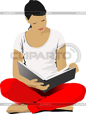 Young Woman reading book | Stock Vector Graphics |ID 3048377