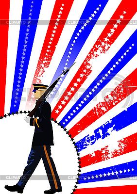 美国国旗和后卫 | 向量插图 |ID 3048445