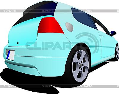 3-drzwiowy samochód hatchback niebieskie światło | Klipart wektorowy |ID 3048670