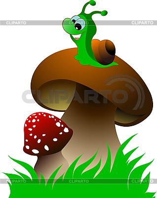 Funny green snail and two mushrooms | Stock Vector Graphics |ID 3048710