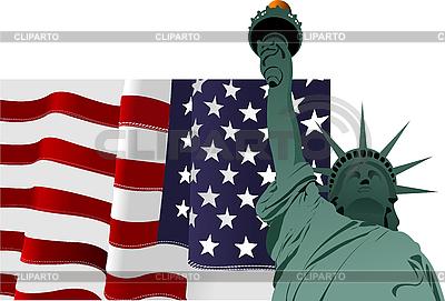 미국 국기와 자유의 여신상 | 벡터 클립 아트 |ID 3048754
