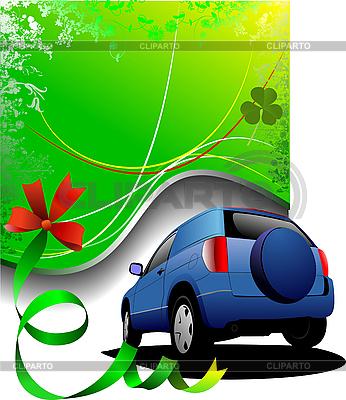 Grüner Poster und blaues Auto   Stock Vektorgrafik  ID 3049937
