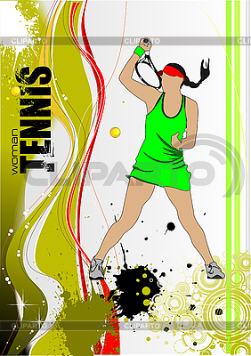 Plakat z kobietą tenisista | Klipart wektorowy |ID 3050019