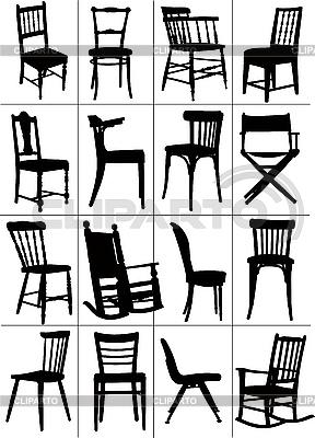 Zestaw sylwetki krzesełkowych | Klipart wektorowy |ID 3050023