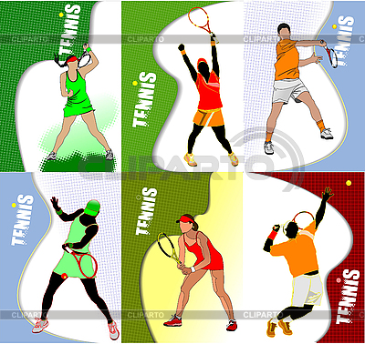 Six Posters with tennis players | Stock Vector Graphics |ID 3050025