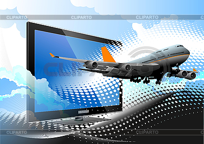 Flat computer monitor with passenger airplane | High resolution stock illustration |ID 3050128