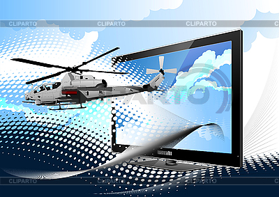 Combat helicopter from monitor | Stock Vector Graphics |ID 3050175