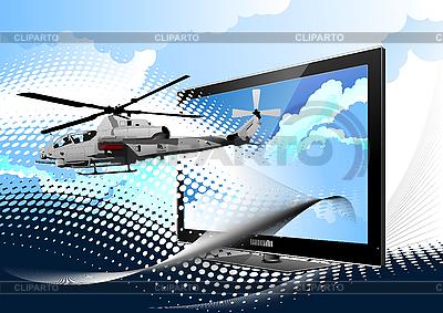 모니터 전투 헬기 | 벡터 클립 아트 |ID 3050175