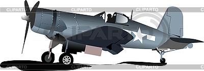 Stary wojskowy samolot bojowy | Klipart wektorowy |ID 3050197