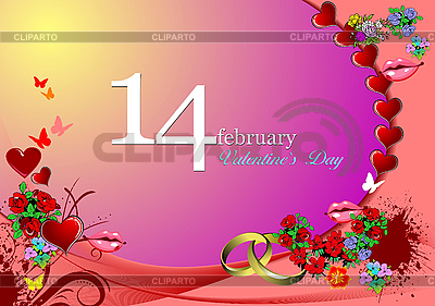 Valentine`s Day Greeting Card | Stock Vector Graphics |ID 3069933