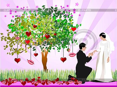 Свадебная открытка с деревом из сердечек, невестой и женихом | Векторный клипарт |ID 3069937