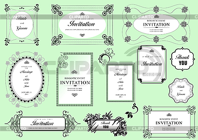 Ornate frames and ornaments with sample text | Stock Vector Graphics |ID 3069957